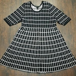 Lane Bryant Dresses - LANE BRYANT flared windowpane sweater dress 18/20